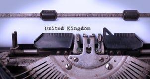 Old typewriter - United Kingdom. Inscription made by vintage typewriter, country, United Kingdom Stock Photography