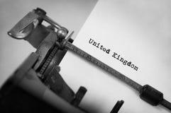 Old typewriter - United Kingdom. Inscription made by vintage typewriter, country, United Kingdom Royalty Free Stock Image