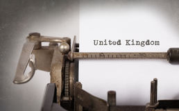 Old typewriter - United Kingdom. Inscription made by vintage typewriter, country, United Kingdom Stock Photos