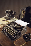 Old typewriter. On a wooden desk Royalty Free Stock Photography