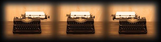 Old typewriter on wooden table Stock Photo