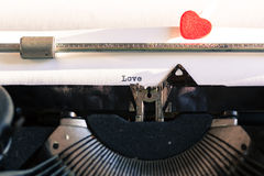 Old typewriter with words of love Stock Photo