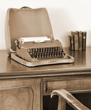 Old typewriter on writing desk Stock Images