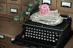 Old typewritter and letters in a library Stock Photos