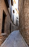 Lonely narrow old street. Toledo, Spain travel. Royalty Free Stock Photography