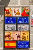 Old typical street sign in Madrid, Spain. Madrid, Spain - May 22, 2014: Artistic retro vintage old typical street sign in Madrid, Spain. Architecture and Stock Images