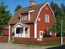 Old typical swedish red house. Linkoping. Sweden. stock photos