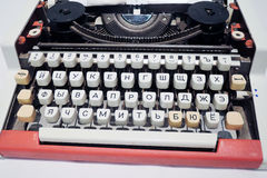 Old typing machine with Russian alphabet. Color photo. Stock Photography