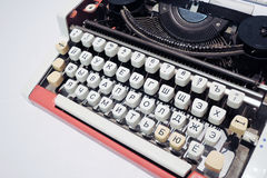Old typing machine with Russian alphabet. Color photo. Stock Photos