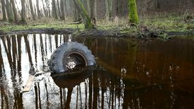 Old tyre and other garbage lies on the waterlogged river bank, environmental pollution. Abuse of environment stock video footage