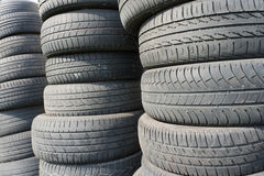 Old Tyres. Stacks of used car tires Stock Photography