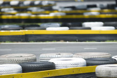 Old tyres at a race track Royalty Free Stock Photos