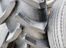 Old tyres in a waste pile royalty free stock image