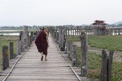 Old U Bein bridge, made of teak wood, Amarapura. Myanmar royalty free stock photography