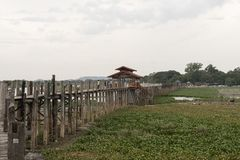 Old U Bein bridge, made of teak wood, Amarapura. Myanmar stock photos