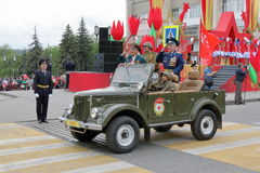 Old UAZ car with war veterans. Pyatigorsk, Russia Royalty Free Stock Photography