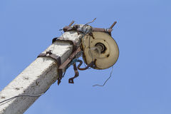 Old ugly broken street lamp Stock Images