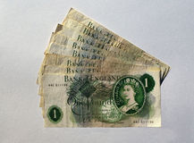 Old UK One pound notes. 8 Old UK One pound notes stock images