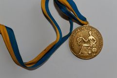 Old Ukraine gold medal for excellence in high school graduation.  Royalty Free Stock Image