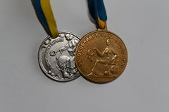 Old Ukraine gold and silver medals for excellence in high school graduation.  Stock Images