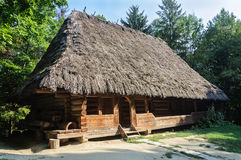 Old Ukrainian authentic wooden house Stock Images