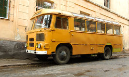 Old Ukrainian bus. Parked in the street Stock Photo