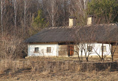 Old Ukrainian traditional hut in the spring wood. Royalty Free Stock Photography