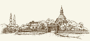 Old Ukrainian Village. Vector Sketch Stock Images