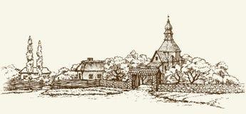 Old Ukrainian village. Vector sketch royalty free illustration