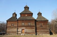 Old Ukrainian wooden church. Historical architecture. Stock Photos