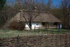 Old Ukrainian wooden house. Old Ukrainian house in the summer Pirogovo stock image