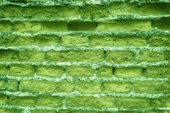 Old ultra green brick wall, stone background or rock surface - good for web site or mobile devices.  Royalty Free Stock Photography