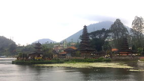 Old Ulun Danu Temple in Beratan Lake, Bali stock video footage