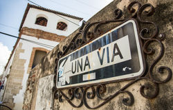 old UNA VIA sign / one way sign / in the old city of Santo Domingo Stock Images