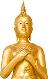 Old and unclean golden standing Buddha in public in Thai Temple Stock Images