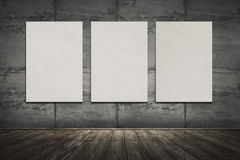 Old underground interior of showroom with empty frames. Stock Image
