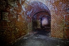 Old underground passage under german fortification castle.  Royalty Free Stock Photos