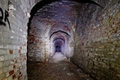 Old underground passage under german fortification castle.  Stock Image