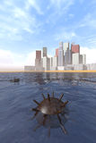 Old underwater mine and modern city. Old rusty underwater mine in the sea and seaside city Royalty Free Stock Photo