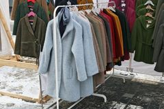 Free Old Unfashionable Coats And Jackets Are Distributed Free Of Char Stock Images - 111706104