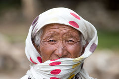 Old unidentified local woman in Leh. India Royalty Free Stock Photos