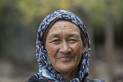 Old unidentified local woman in Leh. India Stock Image