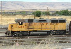 Old union pacific engine still on the tracks Royalty Free Stock Photography