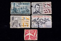 Old UNITED STATES OF AMERICA airmail stamps stock photo