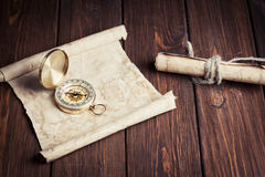 Old unrolled map Stock Photography
