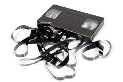 Old unusable vhs cassette. Isolated on white stock images