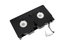Old unusable vhs video cassette tape Royalty Free Stock Images