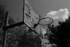 Old,unused basketball court,black and white Royalty Free Stock Photo