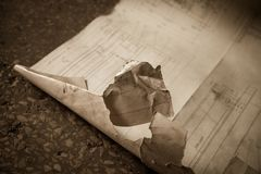 An old unwanted torn  a piece of paper. Closeup shot Royalty Free Stock Images