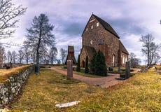Old Uppsala - April 08, 2017 : Stone church of Old Uppsala, Swed. En stock images